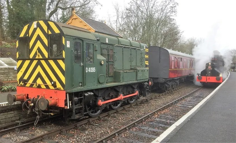 Gangwayless BSK M34527 Mark 1 railway carriage in the station at Midsomer Norton
