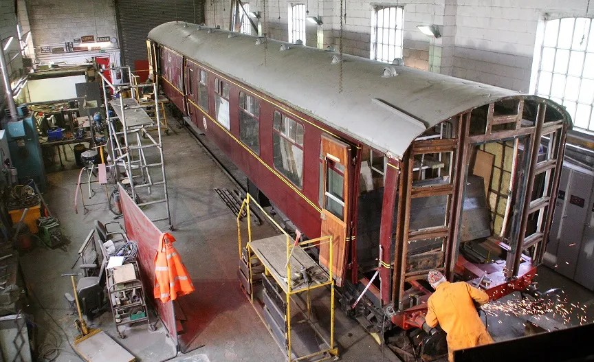 Work on Somerset and Dorset railway Mark 1 carriage restoration at Cranmore