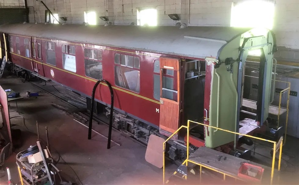 Newly fitted gangway yokes on end of Somerset and Dorset railway Mark 1 carriage M34527