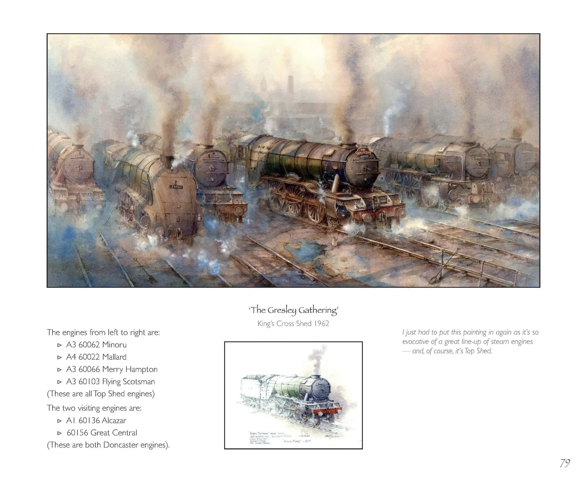 Gresley Gathering painting from Odyssey in Steam book of railway paintings