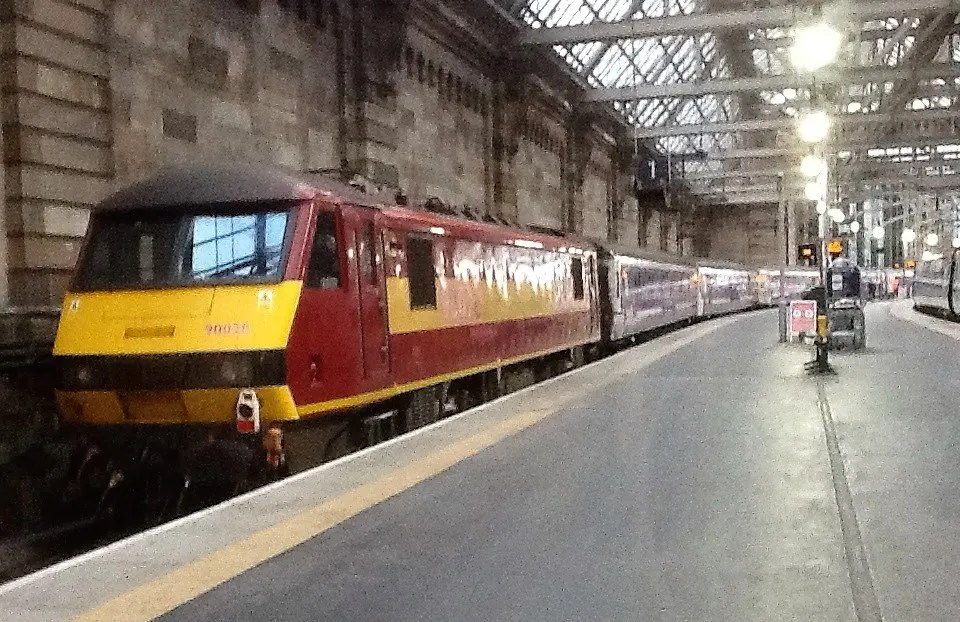 Caledonian Sleeper train locomotive at Glasgow