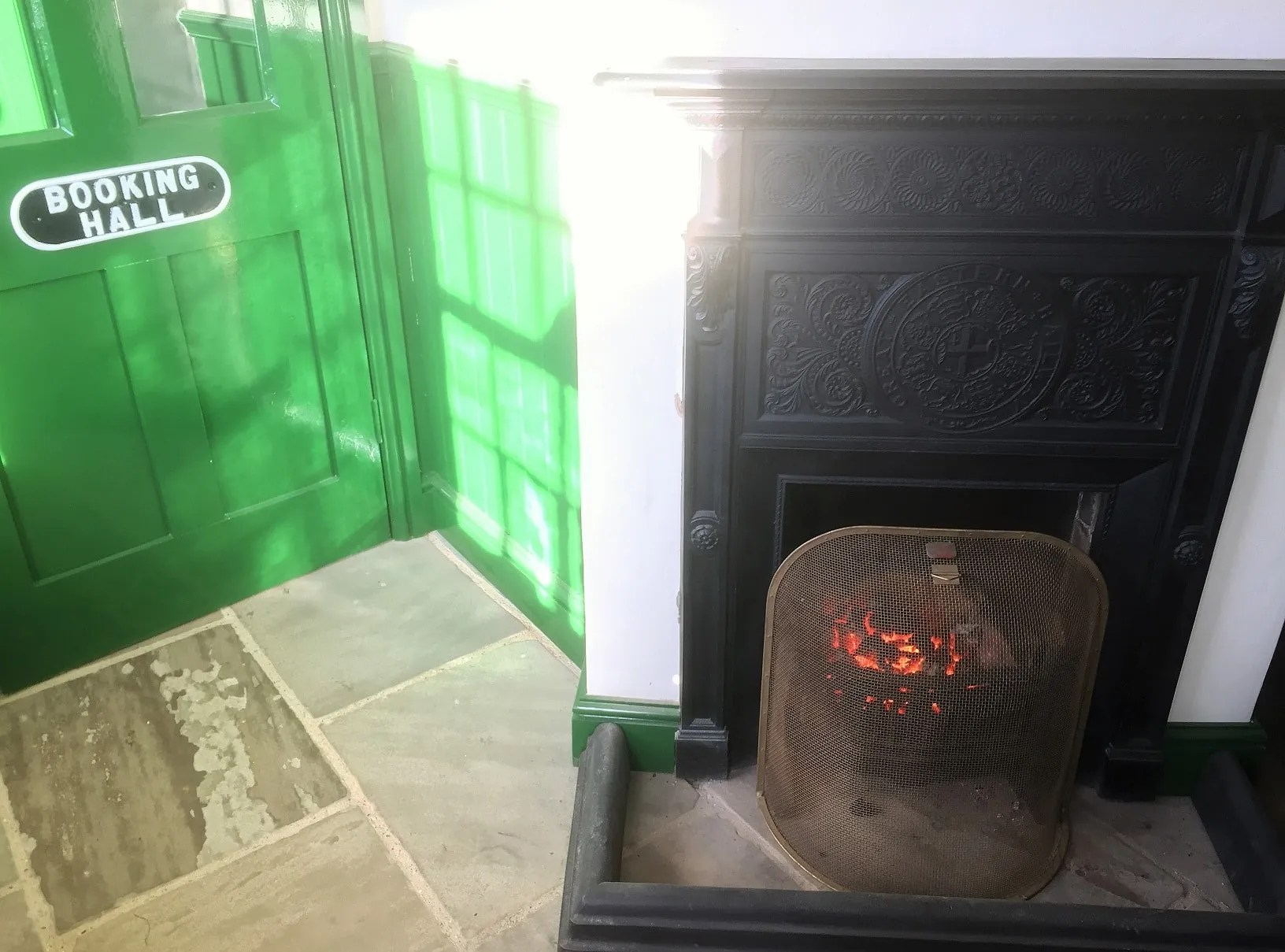 railway station booking hall cosy fire