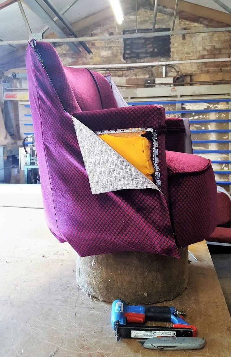Devon Belle seat being reupholstered