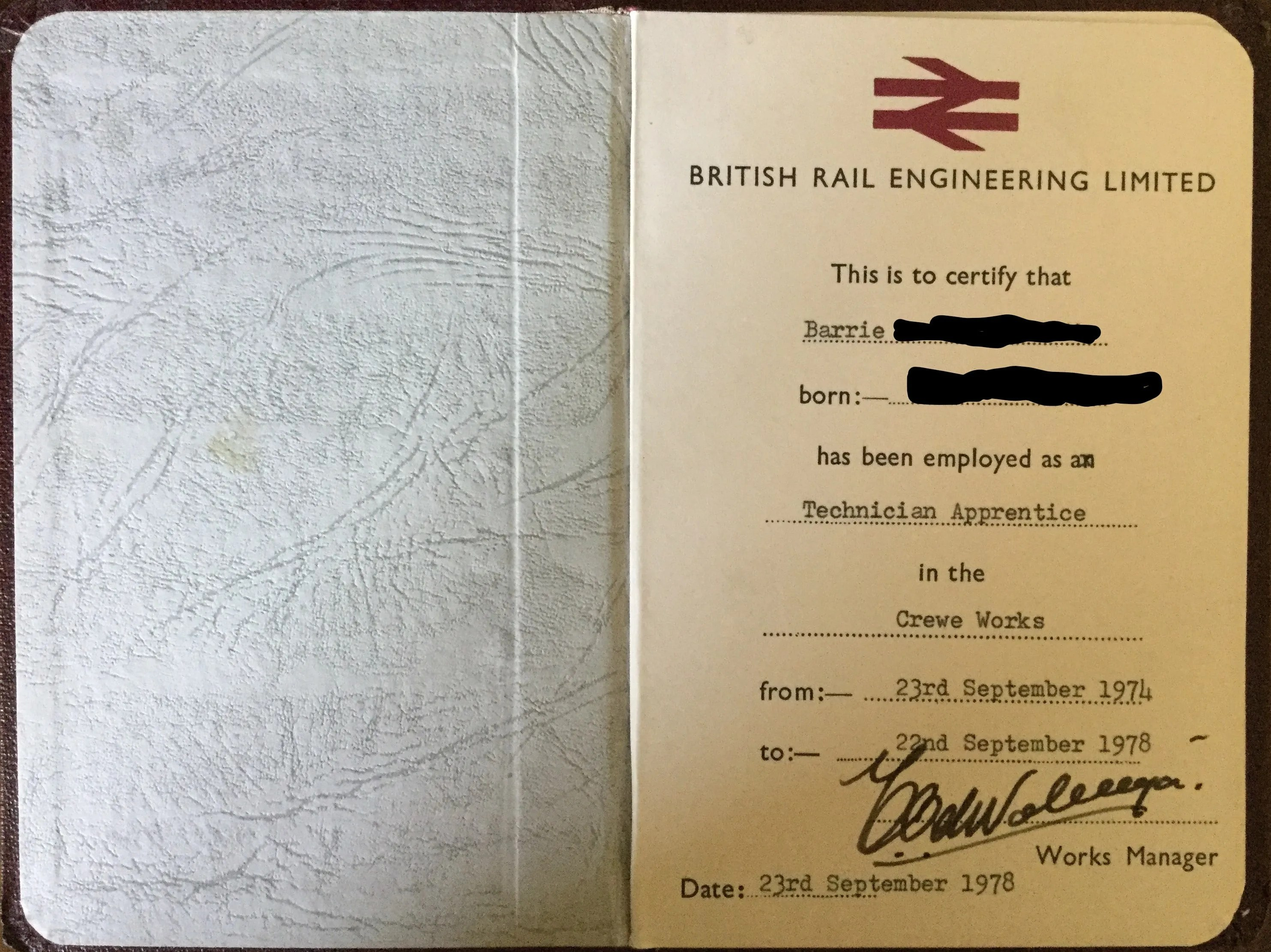 British Railways record of apprenticeship at Crewe Works