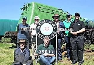 Steam locomotive 35011 volunteers with nameplates