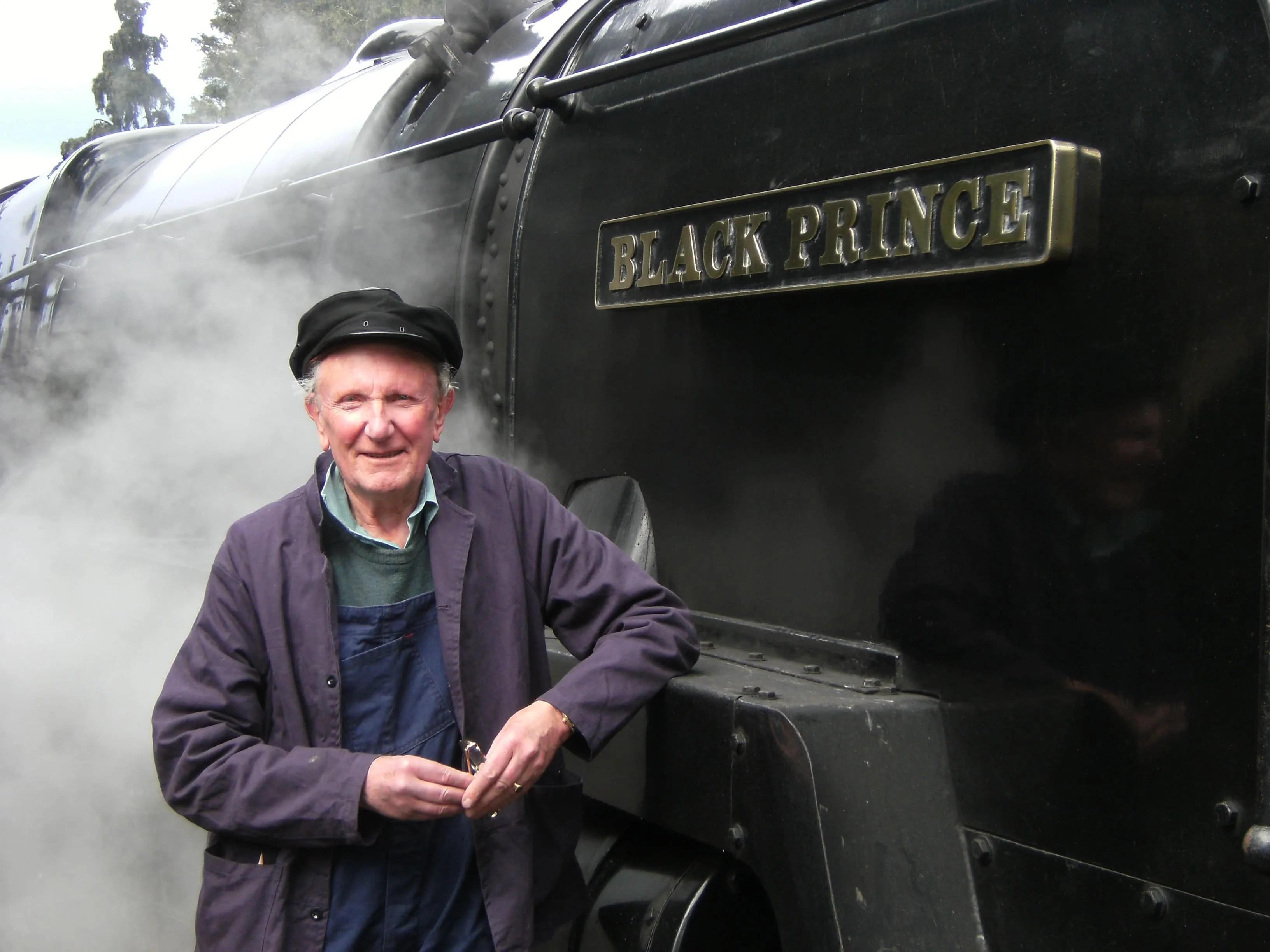 David Shepherd with steam locomotive Black Prince