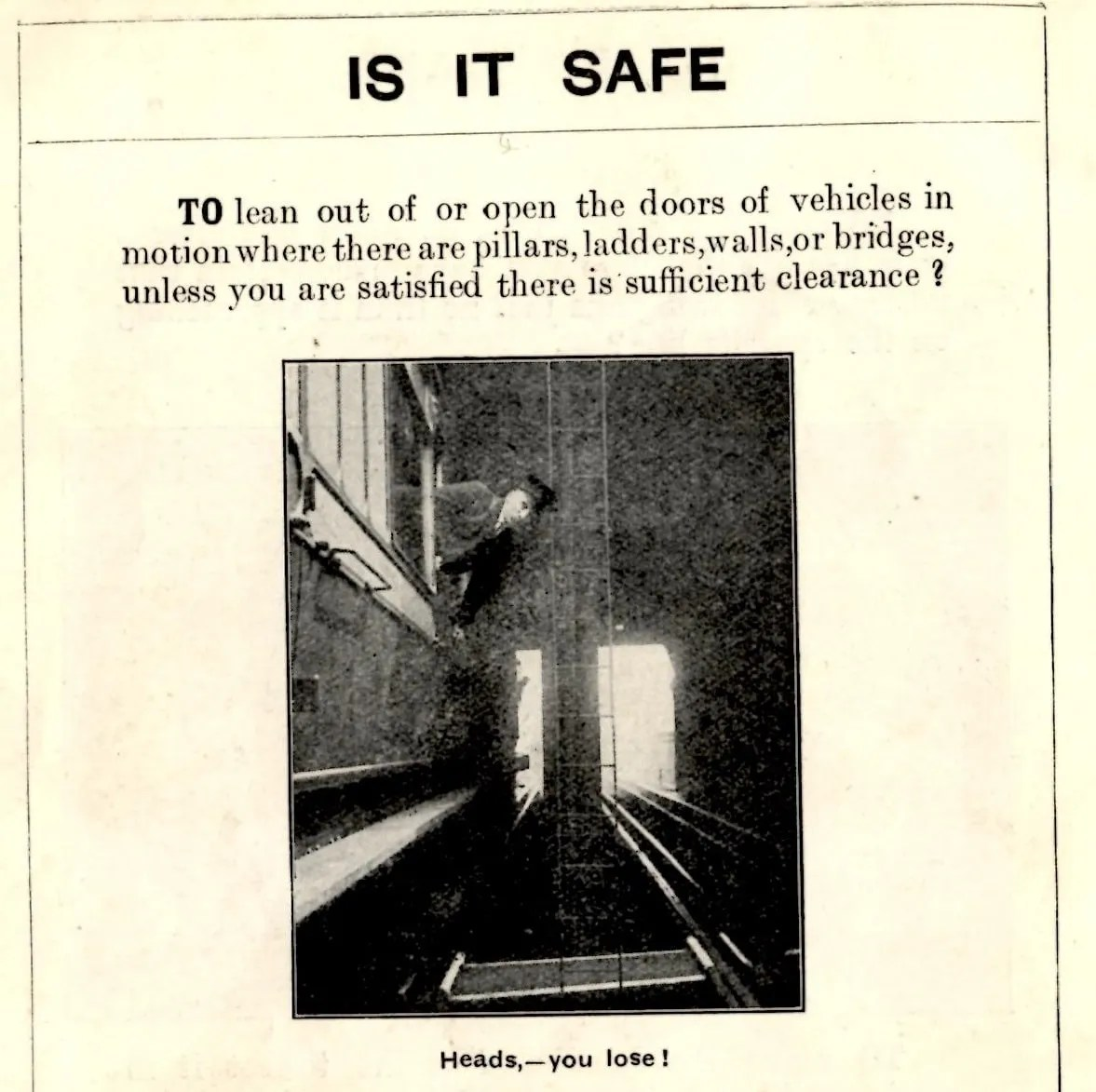 Historical railway accident warning poster