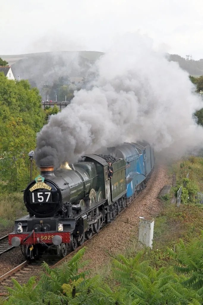 Double headed steam locomotives GWR Castle Class 4-6-0 No: 5029 'Nunney Castle' and LNER A4 Class 4-6-2 No: 60019 'Bittern' at Totnes
