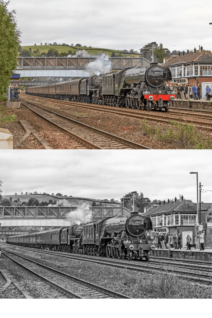 Steam Train Photography of  LNER A3 Class 4-6-2 No: 60103 'Flying Scotsman' and LMS Class 5MT 4-6-0 No:44871 are seen passing through Totnes station working the 1Z44 09.00 Plymouth to Exeter St Davids' The Cathedrals Express' on the 8th October 2018.