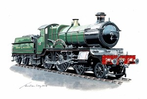 Impression painting of the new steam locomotive Montgomery