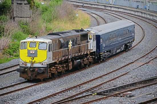 GM '071' No. 072 hauls Belmond Mk3 sleeper No. 7158 Leitrim past Islandbridge Junction, near Dublin Heuston, during the run from North Wall to Inchicore on July 4. CHRIS PLAYFAIR