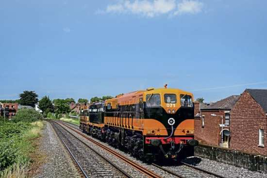 In May of this year, Class 071 pioneer No. 071 was repainted into a variation of its original 'Supertrain' livery at Inchicore to mark the 40th anniversary of the class. On July 19, the locomotive hauls GM Bo-Bos Nos. B141 and 175 during a transfer move from Inchicore to the RPSI's shed at Dublin Connolly. FIONNBARR KENNEDY