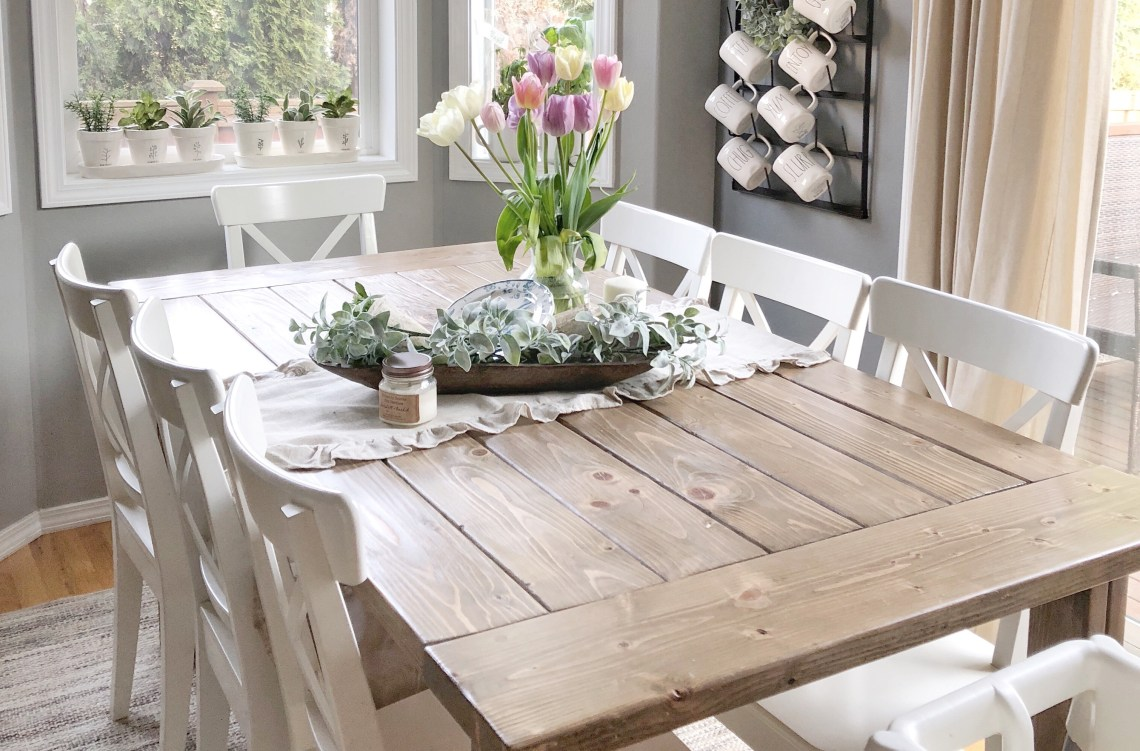 Cool Diy Farmhouse Table Using Ana White Plans A Custom Stain Ncnpc Chair Design For Home Ncnpcorg