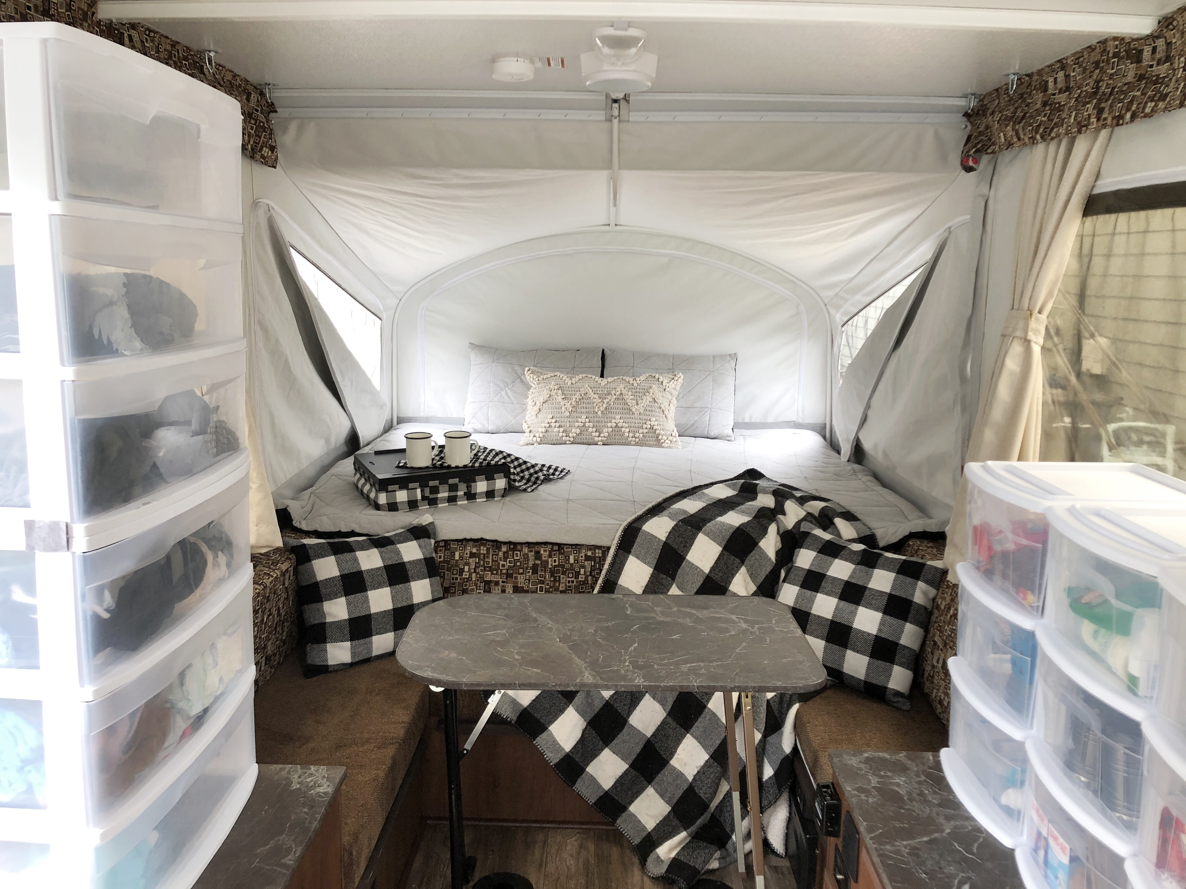 Organizing A Pop Up Camper Pop Up Camping Rain And Pine