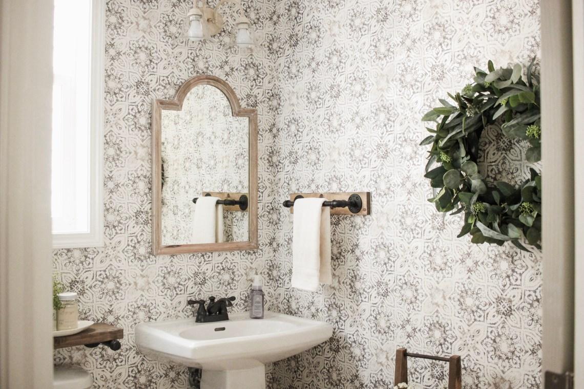 Modern Rustic Farmhouse Bathroom Makeover with Vintage ... on Rustic Farmhouse Bathroom Tile  id=74252