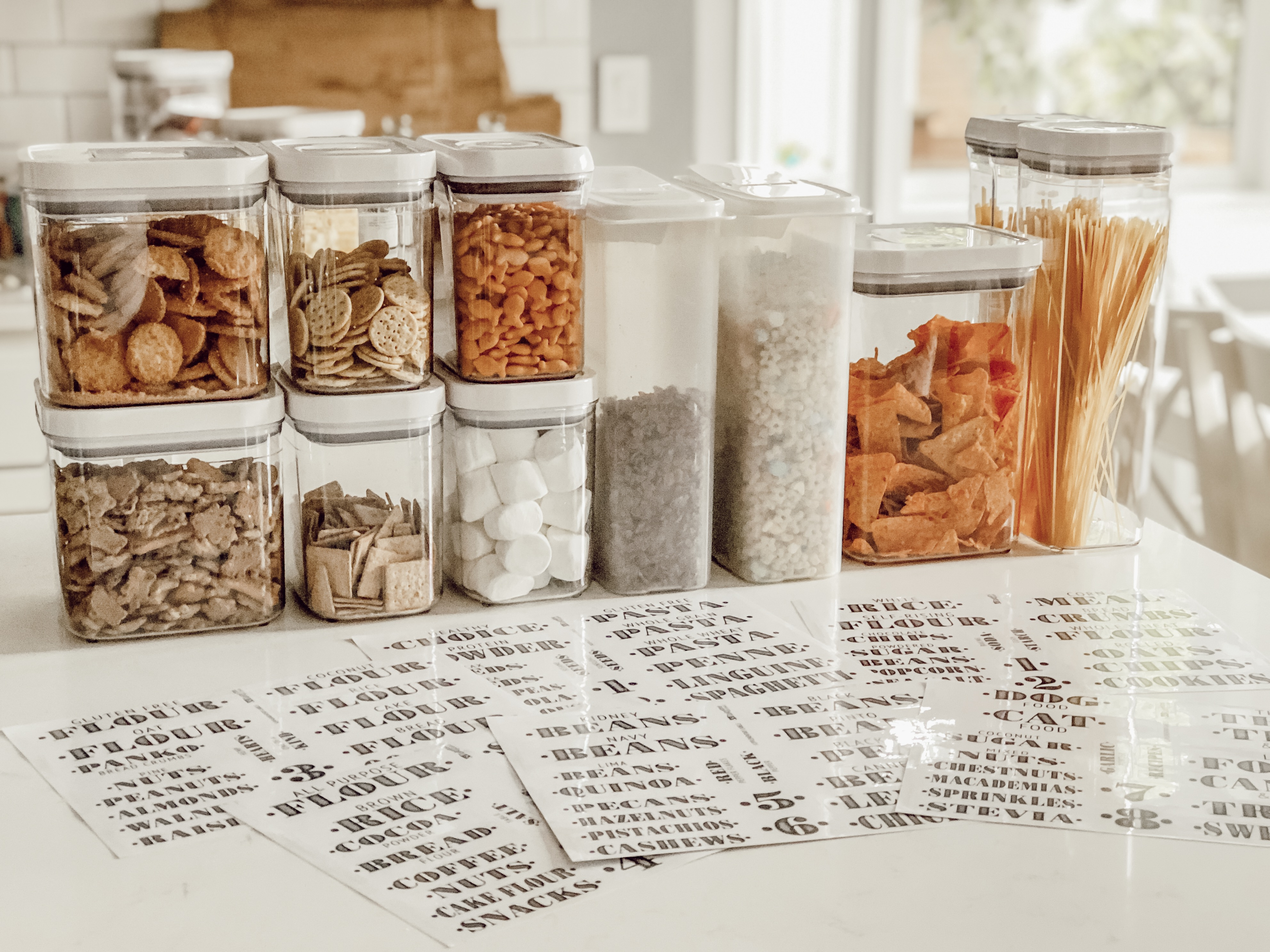 Small Kitchen Pantry Organization With Clear Farmhouse Labels Rain And Pine