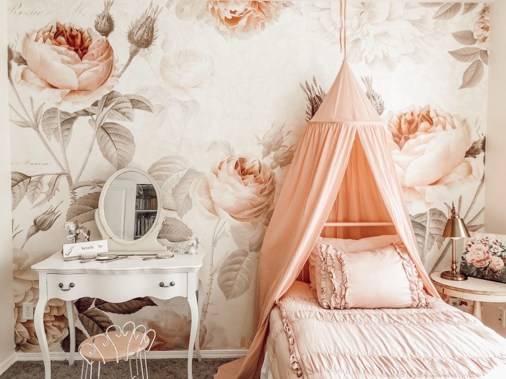 A Vintage Blush Floral Girls Bedroom Rain And Pine