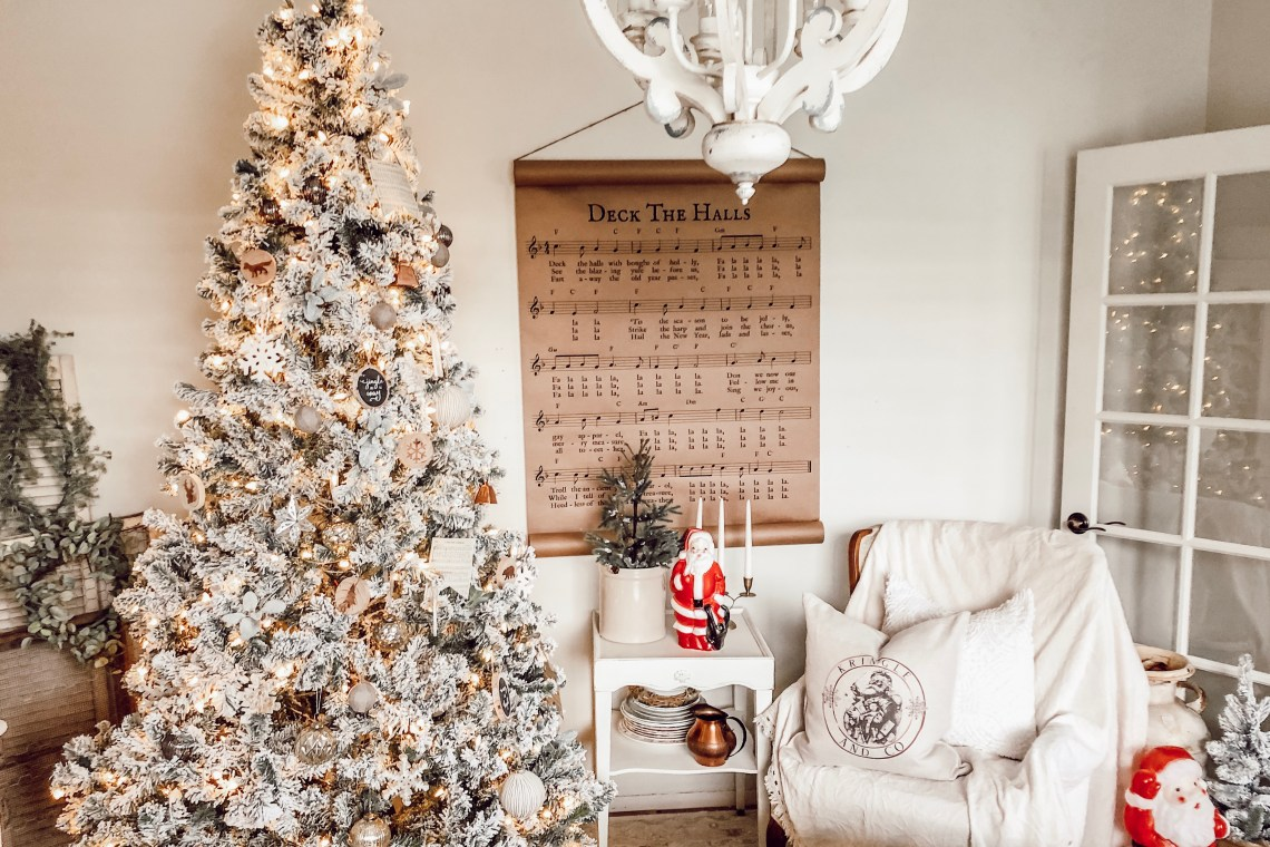 Decorating A Simple White Flocked Farmhouse Christmas Tree Rain And Pine