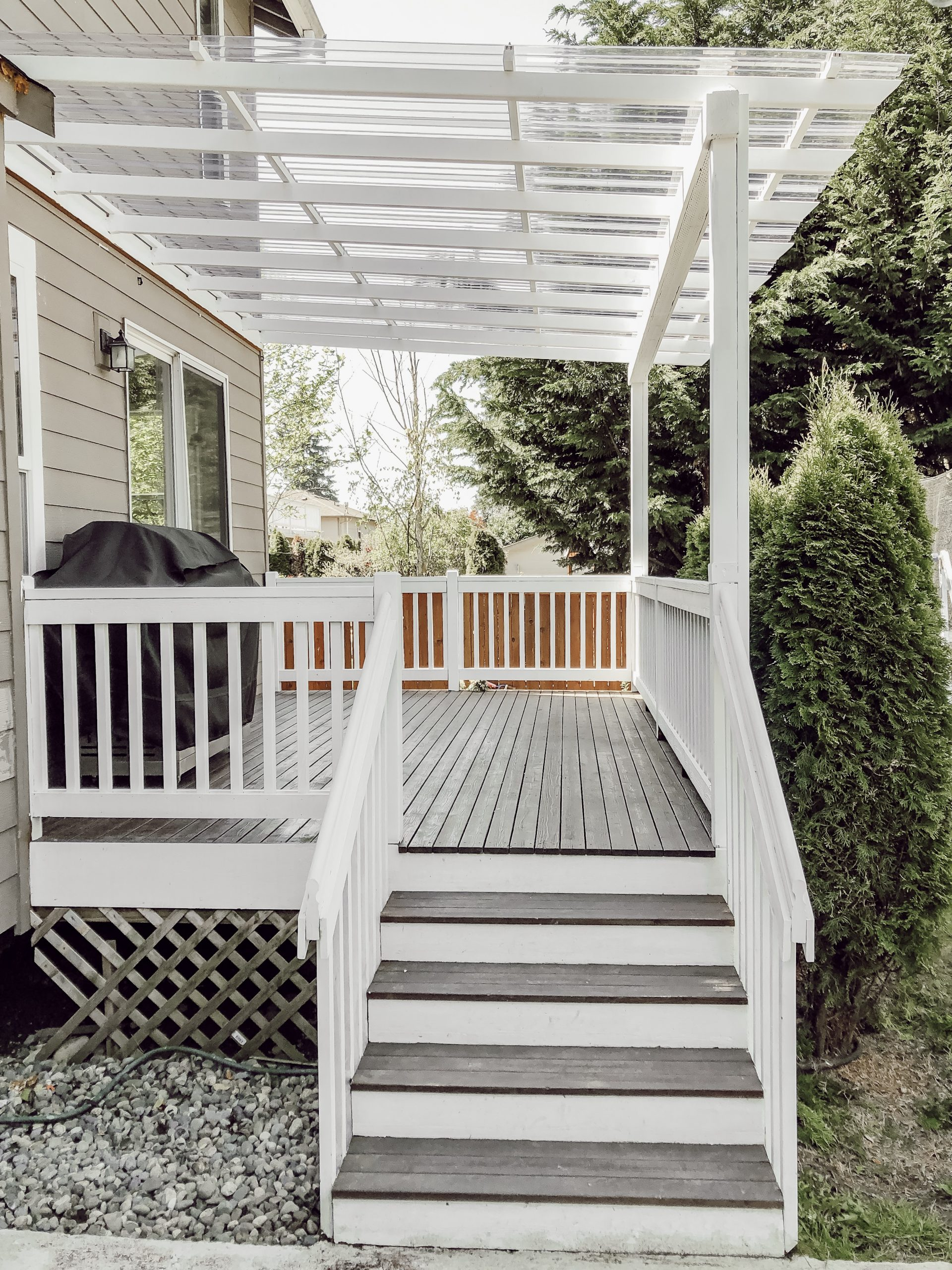 Diy Clear Corrugated Covered Pergola Attached To The House And An Existing Deck Rain And Pine