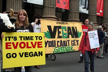 """Vegans at the Melbourne """"Walk against War..."""
