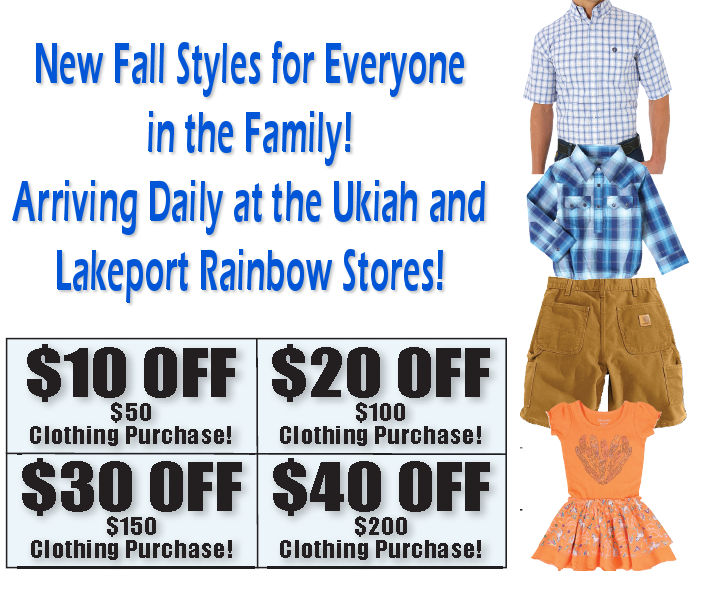 Save on new fall styles at Rainbow Ag