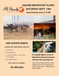 Equine Microchip clinic Sept. 14, 2019