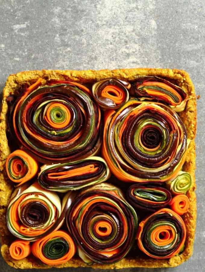Vegetable roulade tart with a sweet potato crust