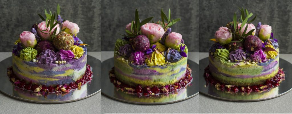 raw rainbow cake collage