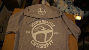 1-color screen printed zip up hoodie with decorated hood.