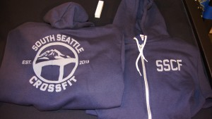 Screen printed navy zip up hoodie for South Seattle CrossFit.