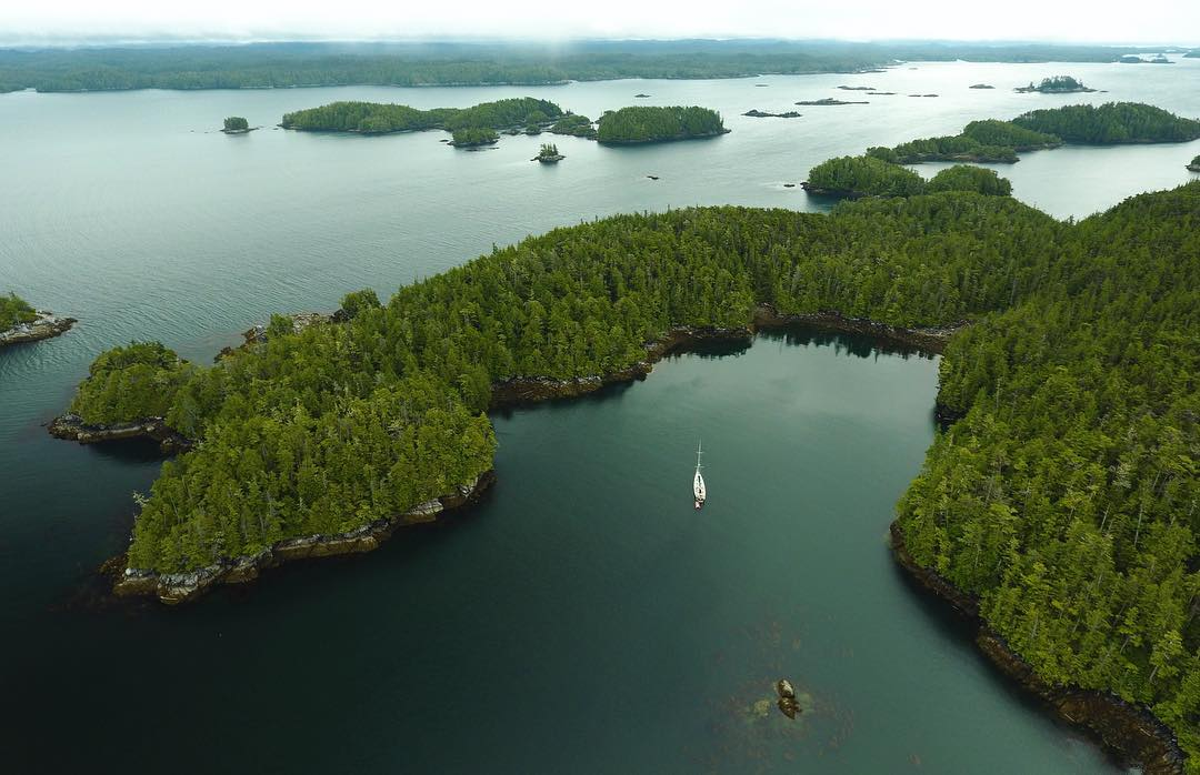 Achiever rests in a little bay, as seen from the air.