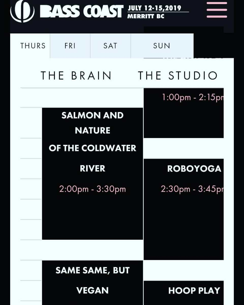 A digital schedule with Salmon and Nature of the Coldwater River slotted in under the 'Saturday' heading from 2pm-3:30pm on July 13th 2019.