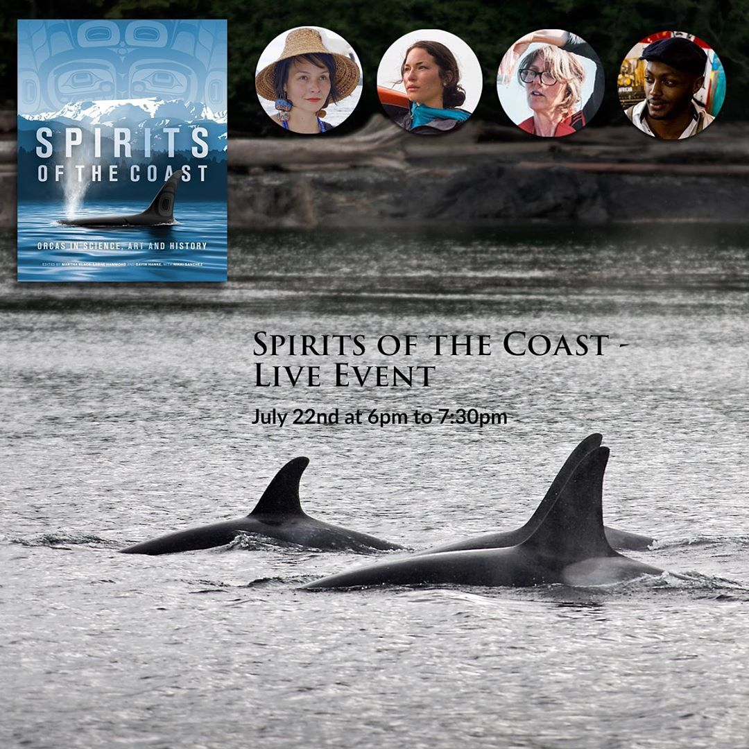 Flier advertising Spirits of the Coast panel discussion with a picture of two orcas back and fins visible side by side in grey ocean waters