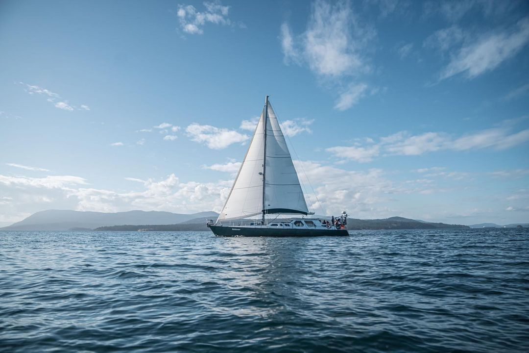 A beautiful boat Achiever is seen center photo with its white sail up, on dark blue ocean under bright blue sky