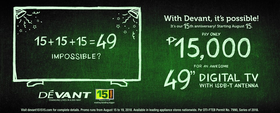 "49"" Devant Digital TV at 15,000 Pesos From August 15 to 19 Only"