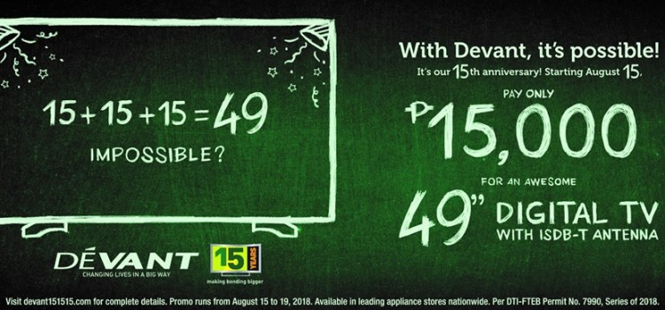 49″ Devant Digital TV at 15,000 Pesos From August 15 to 19 Only