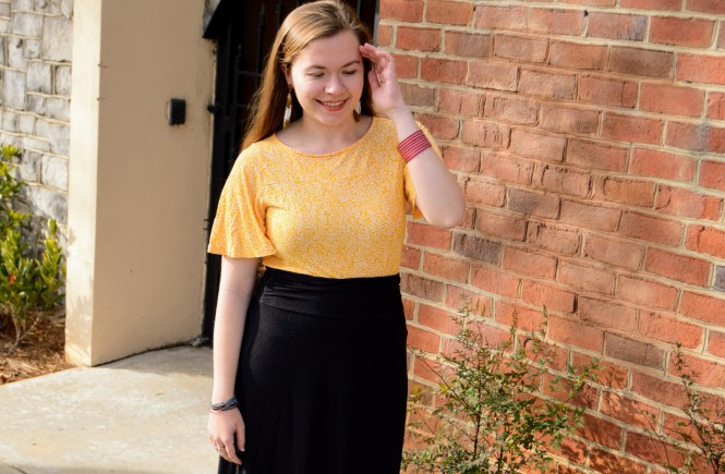 Floral Friday: Yellow Floral Top, Maxi Skirt & Bangles | Raine In The City