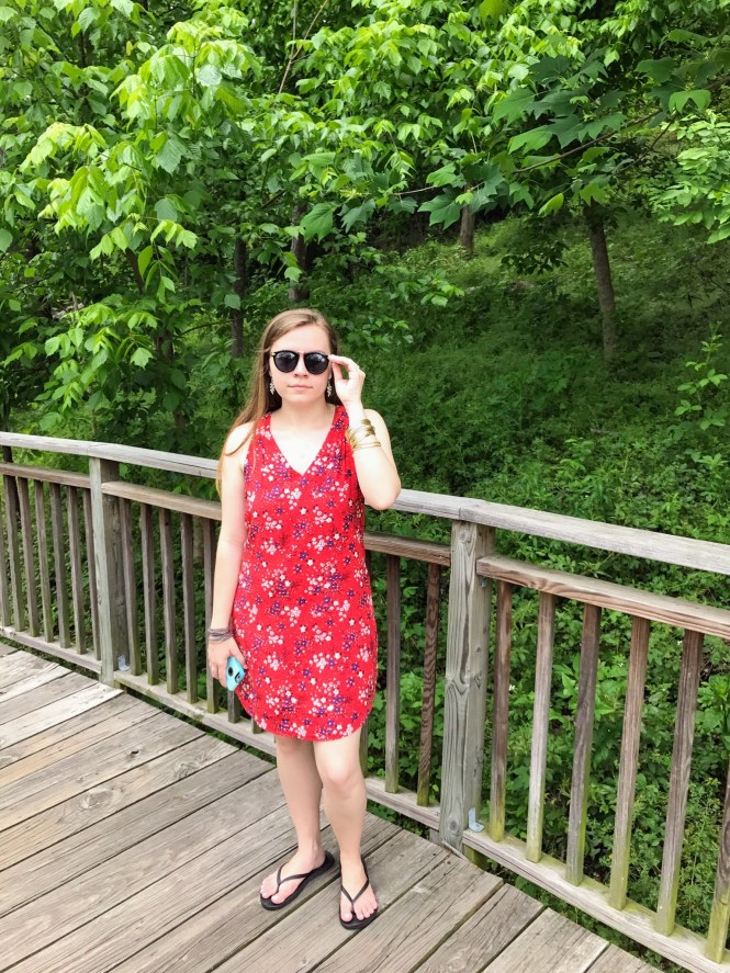 Floral Friday: A Sleeveless Red Floral Dress & Shades