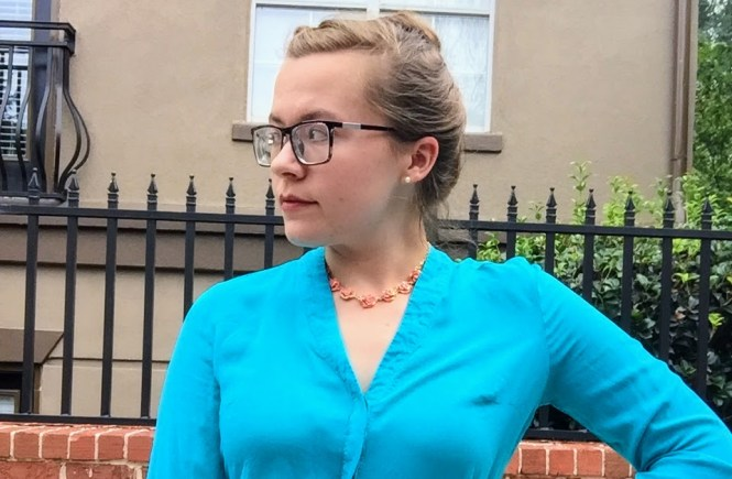 A Business Blue Blouse & a Flower Necklace | Raine In The City