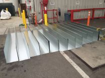 custom box gutter galvanized steel 16 gauge 12 x 12 x 12 over loading dock of Architect Glacier downtown Los Angeles 90017(8)