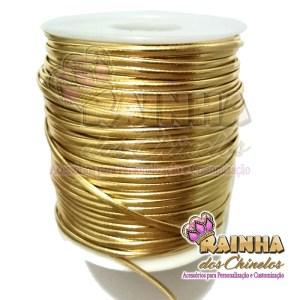 Fio de Couro (Courinho) Dourado 2mm