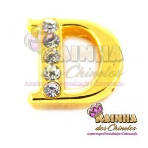 Letra Dourada Com Strass Cristal D