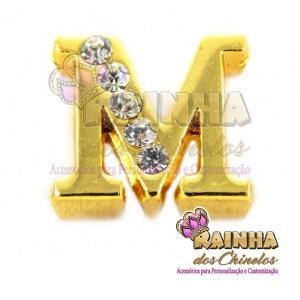 Letra Dourada Com Strass Cristal M