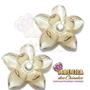 Flor ABS Creme e Dourada