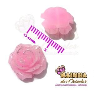 Florzinha ABS Rosa Com Glitter
