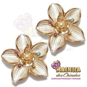 Flor ABS Creme e Dourada Strass Colorido
