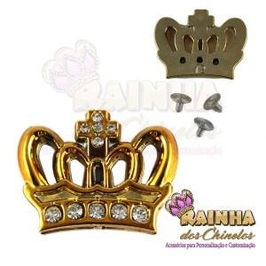 Piercing ABS Coroa Dourada de Strass Cristal