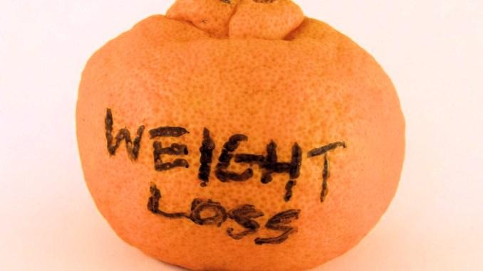 Weight loss written on fruit