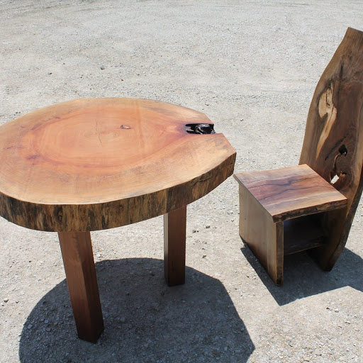 Custom Built Sycamore Table and Walnut Chair