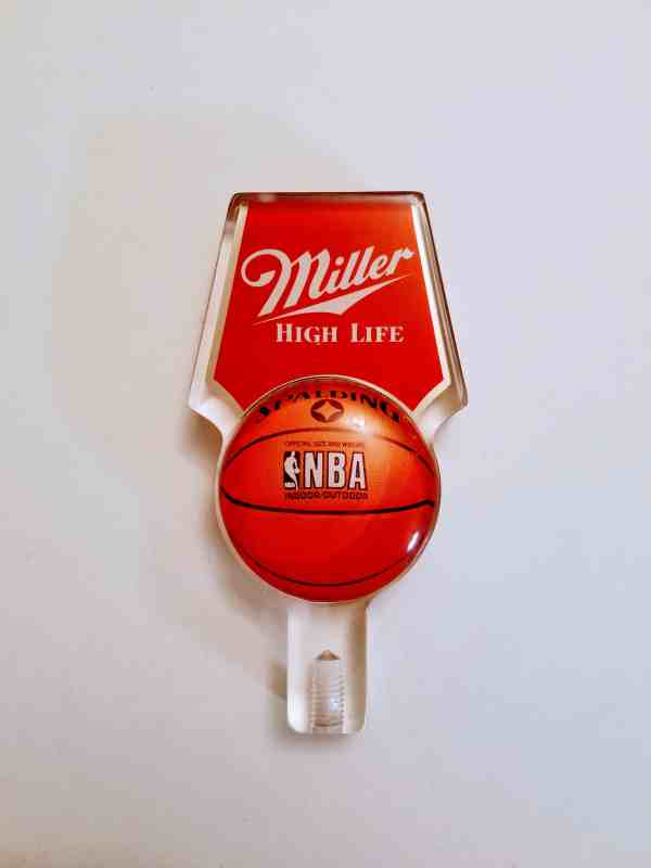 Vintage Miller High Life tap handle with Spaulding NBA design